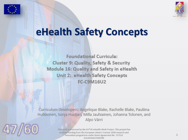 Lesson 47: eHealth Safety Concepts