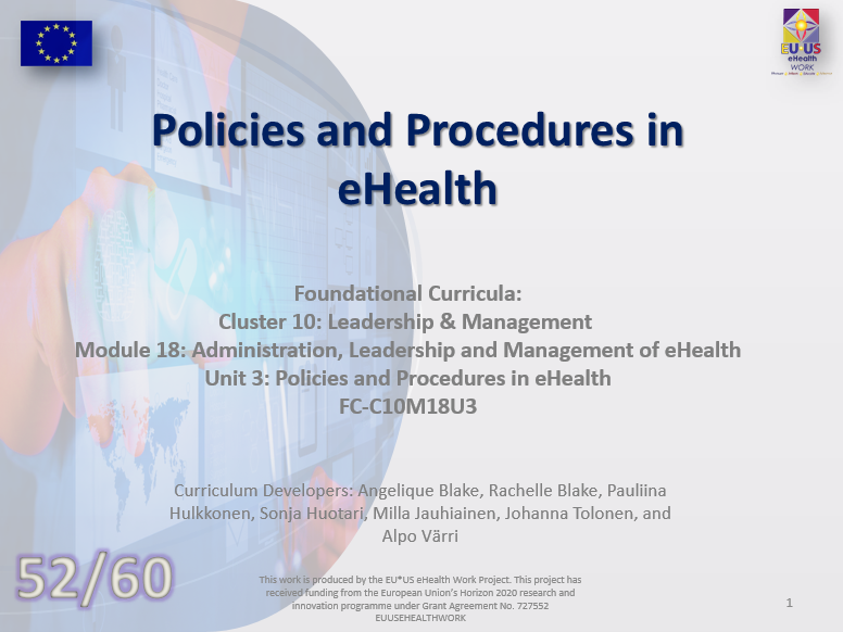 Lesson 52: Policies and Procedures in eHealth